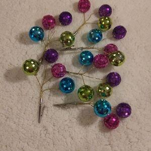 Lot of 6 Colorful Christmas tree picks